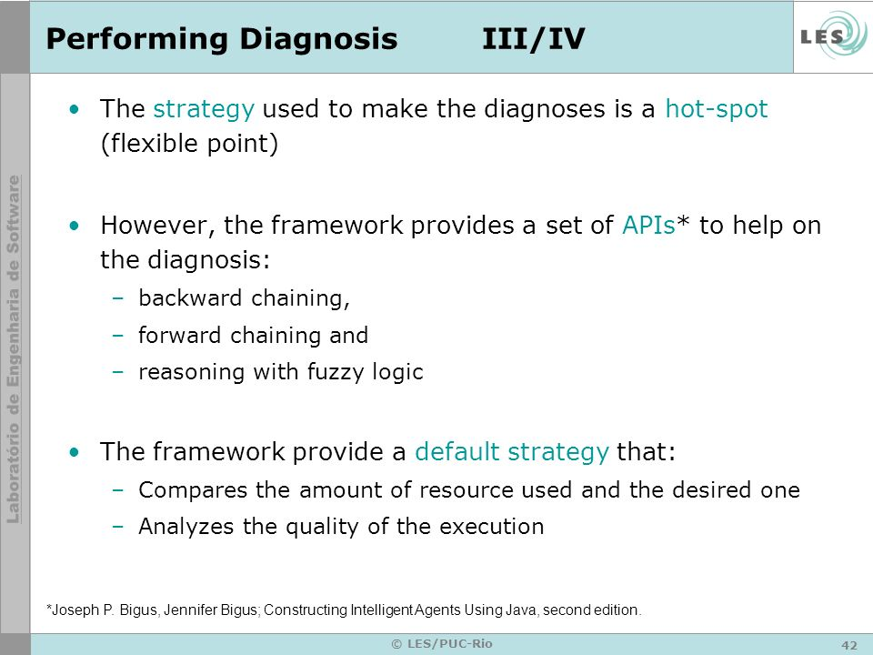 43 © LES/PUC-Rio Performing DiagnosisIV/IV The diagnosis that the default strategy can provide are: –The wrong amount of resources was used –Several problems happened at the same time –It was not possible to identify the problem
