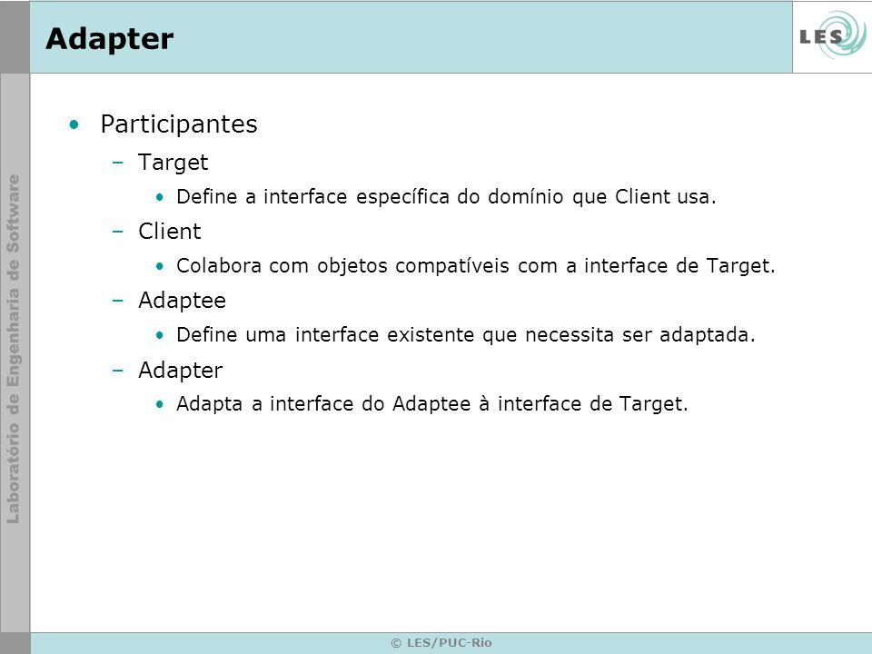 Adapter Conseqüências –Adaptadores de classe Permite a Adapter substituir algum comportamento do Adaptee.