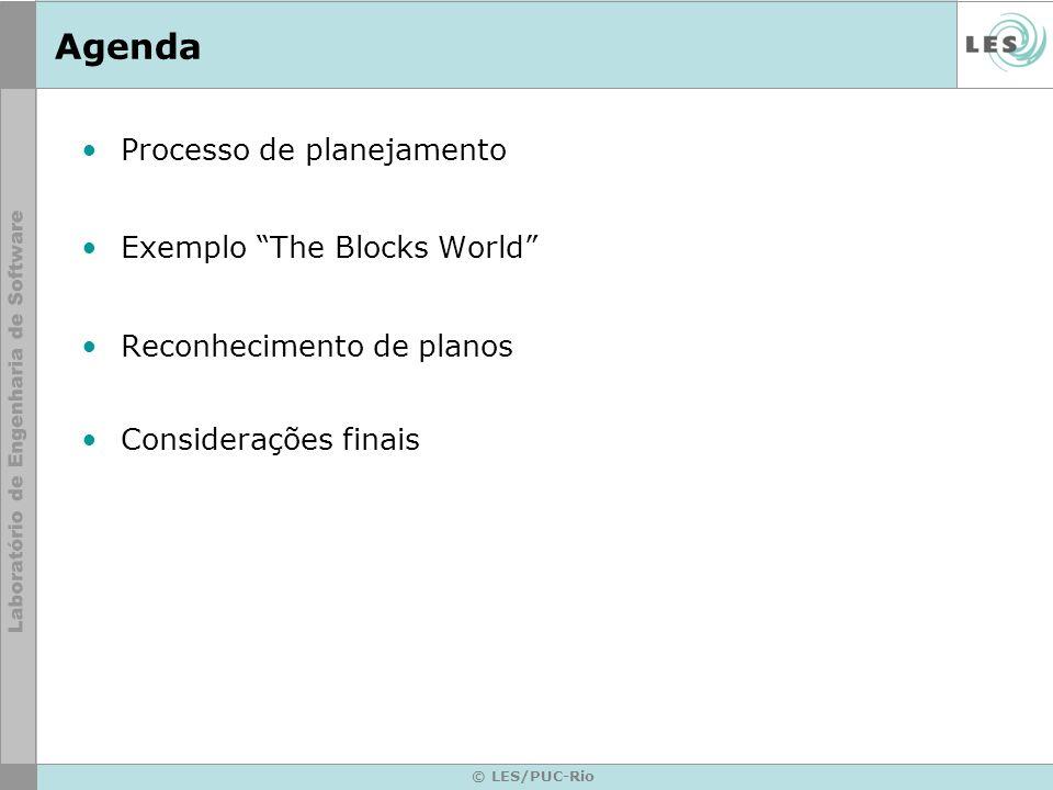 © LES/PUC-Rio Processo de planejamento O processo de planejamento refere-se quando um certo problema é solucionado a partir de um conjunto de sub- partes (passos).