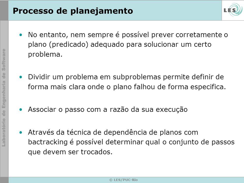 © LES/PUC-Rio Processo de planejamento A geração de um plano é backward, ou seja, deve ser definido a partir de um estado objetivo, torna-se fácil aplicar as dependências.