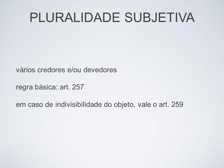 PLURALIDADE SUBJETIVA efeito da indivisibilidade do objeto: sub-rogação pluralidade de devedores: art.