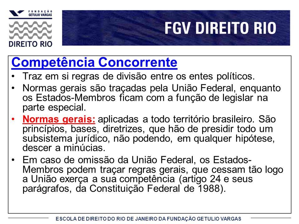 ESCOLA DE DIREITO DO RIO DE JANEIRO DA FUNDAÇÃO GETULIO VARGAS Competência Supletiva Significa o que supre ou se destina a suprir.