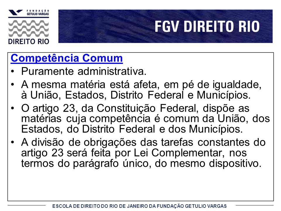ESCOLA DE DIREITO DO RIO DE JANEIRO DA FUNDAÇÃO GETULIO VARGAS Competência Privativa Exercida de forma exclusiva Quando é atribuída a um ente federado com a exclusão dos demais.