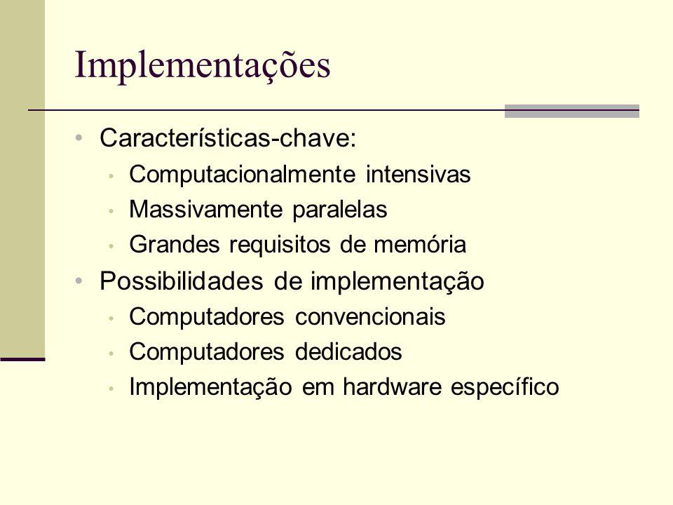 Redes Neurais Artificiais Razões para utilização Paralelismo Capacidade de adaptação Memória distribuída Capacidade de generalização Facilidade de construção
