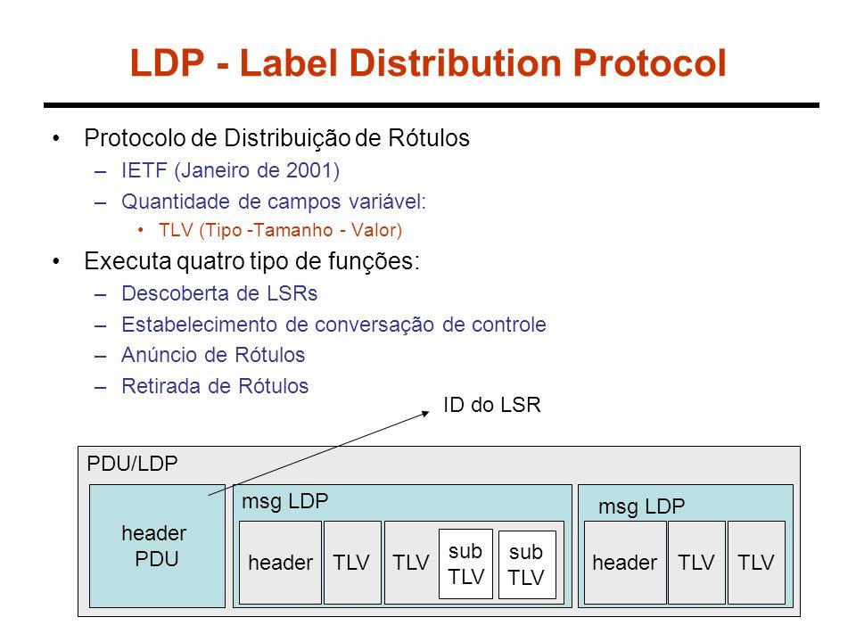 LDP Quanto MPLS é habilitado em um roteador: –O roteador aloca um label para cada rota em sua tabela.