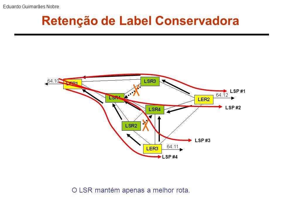 Retenção de Label Liberal LSP #1 LSP #2 LSP #3 LSP #4 Eduardo Guimarães Nobre Ao receber um anúncio melhor, o LSR mantém a rota anterior.