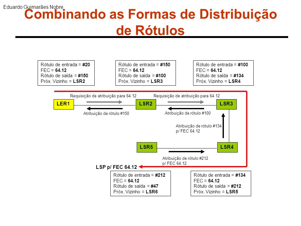 Engenharia de Tráfego no MPLS Mecanismos do MPLS para TE 1.LSP distinto do sugerido pelo OSPF 2.Reserva dinâmica de recursos junto com o estabelecimento do LSP 3.Distribuição de tráfego por LSPs paralelos 4.Criação e Remoção dinâmica de LSPs conforme as necessidades da rede 5.Utilização de LSPs como objetos gerenciáveis.