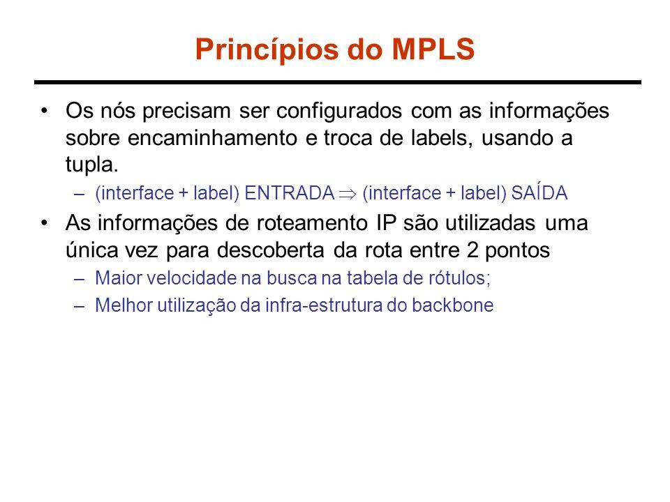 Label Switching A B C EF D LABEL 3 por AB LABEL 5 para BC LABEL 4 por AB LABEL 6 para BD LABEL 7 - EF - LABEL 9 LABEL 8 - EF - LABEL 10 3 5 7 9 4 6 8 10 LFIB (Label Forwarding Information Base) LSR=2 LSR=1 LABEL 5 por BC LABEL 7 para CD LABEL 6 por BD LABEL 8 por DE
