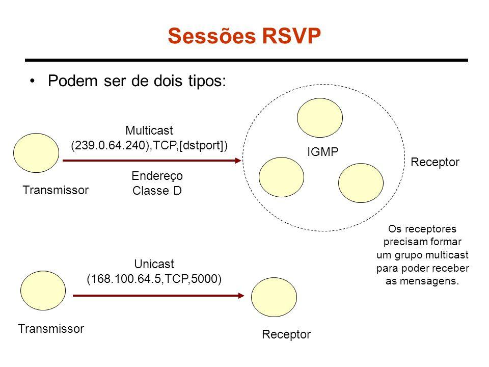 Especificação de fluxo Um reserva em RSVP é caracterizada por uma estrutura de dados denominada Flowspec.
