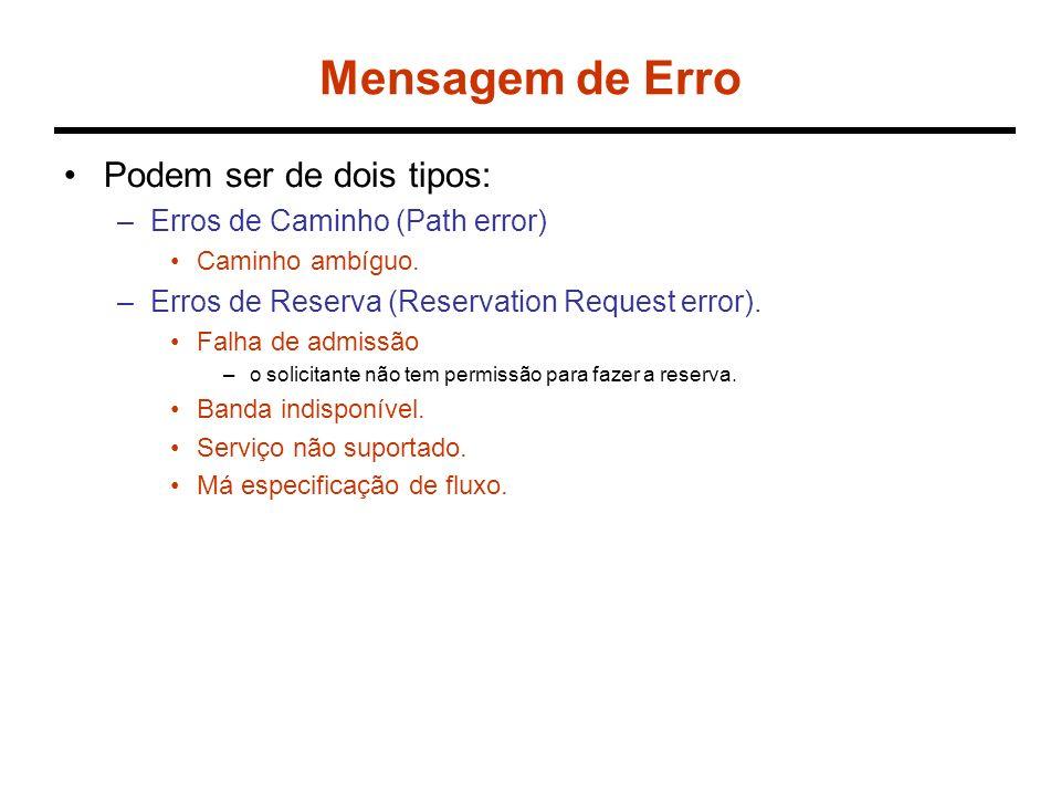 Exemplo R1 R S R2 R3R4R5 5 Mb/s 4 Mb/s 2 Mb/s 4 Mb/s 3,5 Mb/s Resv(R1,S1) R1 = 2,5 Mb/s e S1= 0 Resv(R1,S1) ResvErr R1 R S R2 R3R4R5 5 Mb/s 4 Mb/s 2 Mb/s 4 Mb/s 3,5 Mb/s Resv(R1,S1) R1 = 3 Mb/s e S1= 10 ms, S2 = 10 ms – delay provocado por R3 Resv(R1,S1) Resv(R1,S2)