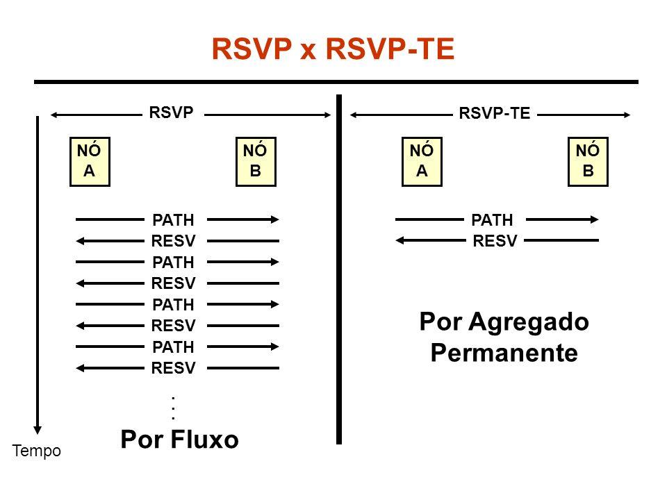 Gerenciamento de Rotas Inclusão do Objeto Rota Explícita na mensagem Path –Indica a seqüência de saltos estritos ou flexível, de forma idêntico ao CRLDP Inclusão do Objeto Registro de Rota nas mensagens Path e Resv (opcional) –Indicam a seqüência completa de LSR utilizada para compor o caminho –Os rótulos intermediários podem também, opcionalmente, serem coletados ao longo do caminho