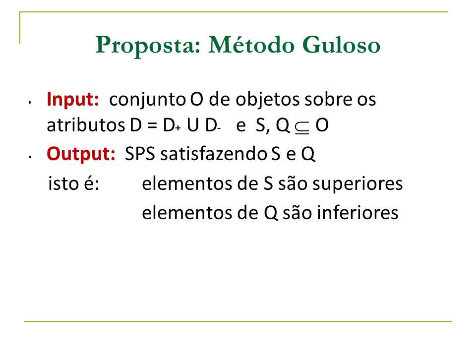 Dominância Parcial Seja D = D+ U D- >D = ordem pareto sobre D Se O1 >D+ O2 então O1 >D O2 depende somente das preferências sobre os não-determinados D- - O1 domina parcialmente O2 se O1 > D+ O2 - Se O1 domina O2 então O1 domina parcialmente O2 - Se O1 não domina parcialmente O2 então O1 não domina O2 Exemplo : O1 = (Preço = 250, Área = 100, Local = Centro) O2 = (Preço = 300, Área = 150, Local = Bairro Martins) Sem mesmo conhecer as preferências sobre os atr.