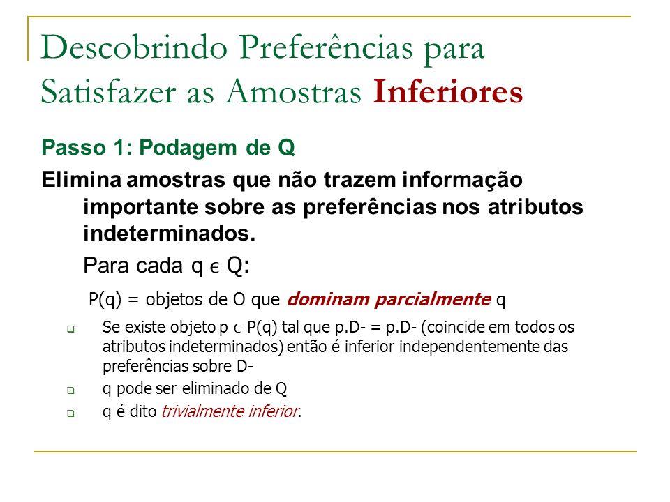 Descobrindo Preferências para Satisfazer as Amostras Inferiores Passo 2: Construção da tabela das Condições de Preferências - Para cada q Q : - Considera-se todos os objetos de O que podem dominar q nos atributos não determinados = P(q) - Sabe-se que tais objetos existem: q é inferior, e q não é trivialmente inferior - Para cada objeto p P(q): constrói-se as condições que devem ser satisfeitas para q ser dominado por p - Notação: Cq(p) = condições que devem ser satisfeitas para q ser dominado por p.