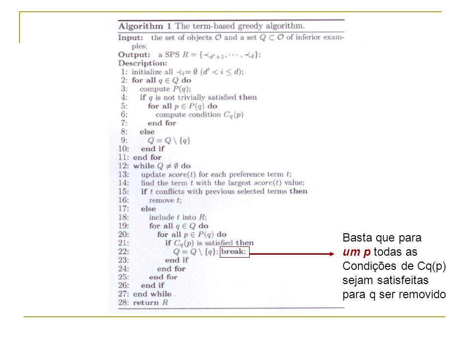 Como calcular o Incremento CI(t) Exemplo R = {> 3, > 4 }  D3  = 5,  D4  = 3 Iteração k : R = { { a1 > 3 a2}, ø }  E(R)  = (1+5)*3 – 5*3 = 3 Iteração k+1: a3 > 3 a1 é selecionado  E(R)  = (3+5)*3 – 5*3 = 9 CI(t) = 9 – 3 = 6