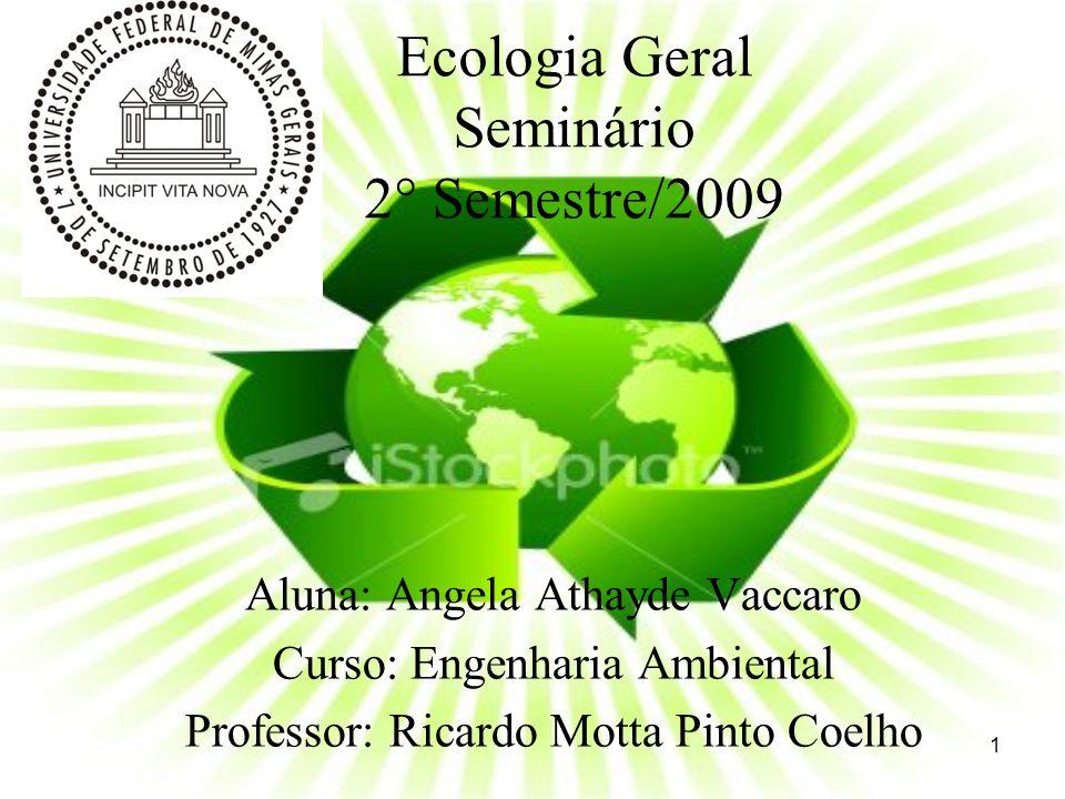 Ecologia Geral Tema: Reciclagem da água no ambiente doméstico, na área de serviços e na indústria.