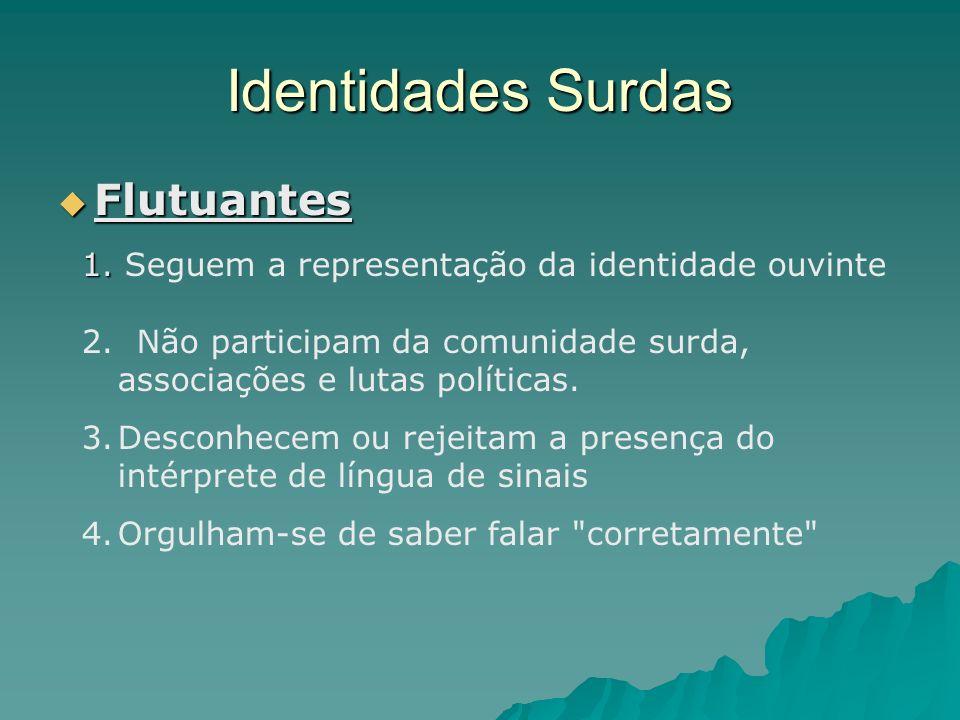 Identidades Surdas Embaçadas Embaçadas 1.Os surdos não conseguem captar a representação da identidade ouvinte.