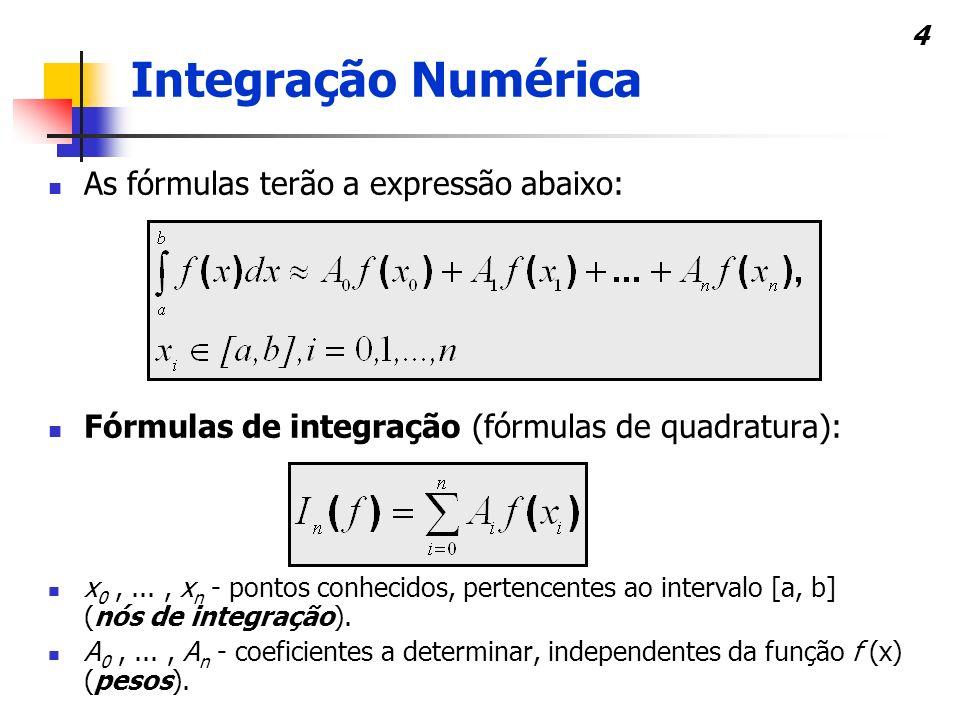 5 O uso desta técnica decorre do fato de: por vezes, f(x) ser uma função muito difícil de integrar, contrariamente a um polinômio; conhecer-se o resultado analítico do integral, mas, seu cálculo é somente aproximado; a única informação sobre f(x) ser um conjunto de pares ordenados.