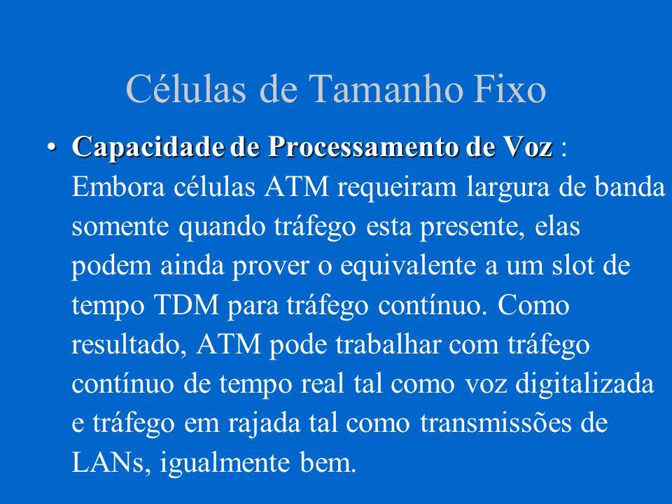 Células de Tamanho Fixo Todas as células ATM são, portanto, do mesmo tamanho, diferente de sistemas Frame-Relay e redes locais, que tem pacotes de tamanho variável.