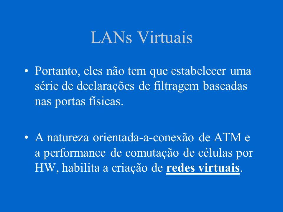 LANs Virtuais Ao invés de configurar e reconfigurar roteadores toda a vez que se muda as estações de trabalho de localização, gerentes de rede podem implementar LANs Virtuais.