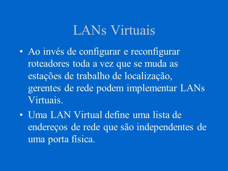 LANs Virtuais Contudo, LANs Virtuais têm uma significado amplo de rede.