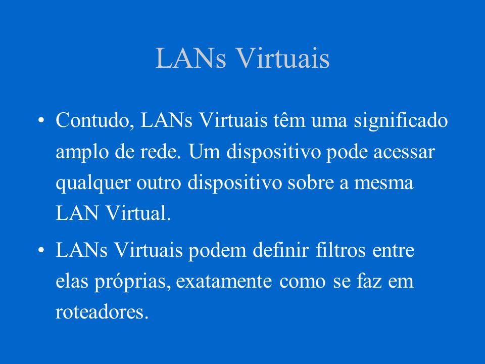 LANs Virtuais Dispositivos sobre diferentes meios podem ser membros de uma mesma LAN virtual.
