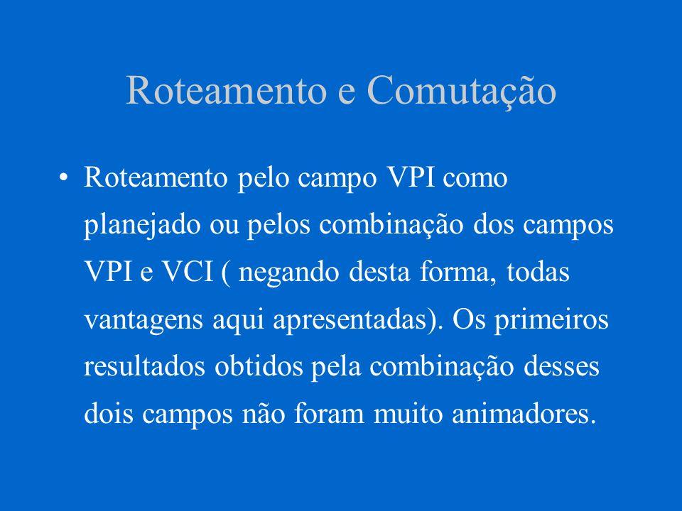 Conexões Virtuais Canal lógico entre dois usuários finais Canal virtual - VC Conexão de canal virtual - VCC Identificador do canal virtual - VCI.