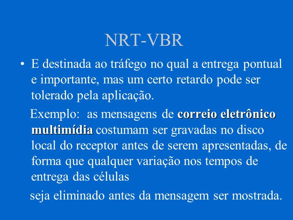 ABR ABR = Available Bit Rate Projetado para um trafego em rajada cuja variação de largura de banda e praticamente desconhecida.