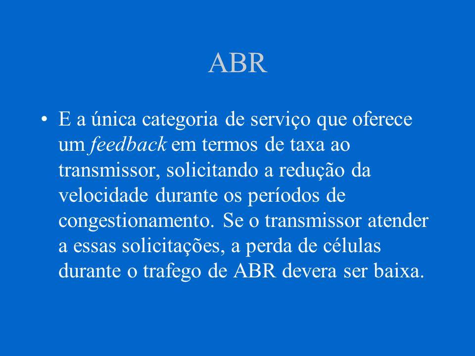 UBR UBR = Unspecified Bit Rate Não realiza nenhuma negociação de largura de banda entre conexões ; as aplicações utilizam a largura de banda disponível de acordo com que a rede pode oferecer.