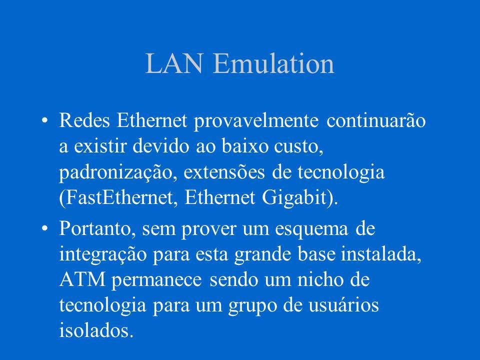 LAN Emulation LAN Emulation é a tecnologia de migração que permite estações dos usuários rodando aplicações existentes serem adaptadas aos serviços ATM.