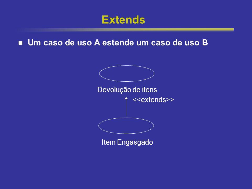 18 Extends Caso de uso B possui um curso completo de transações, ou seja independe de possíveis casos de uso relacionados via extends Podemos ver uma associação extends como uma interrupção no caso de uso original (B), ponto a partir do qual o caso de uso (A) será inserido.