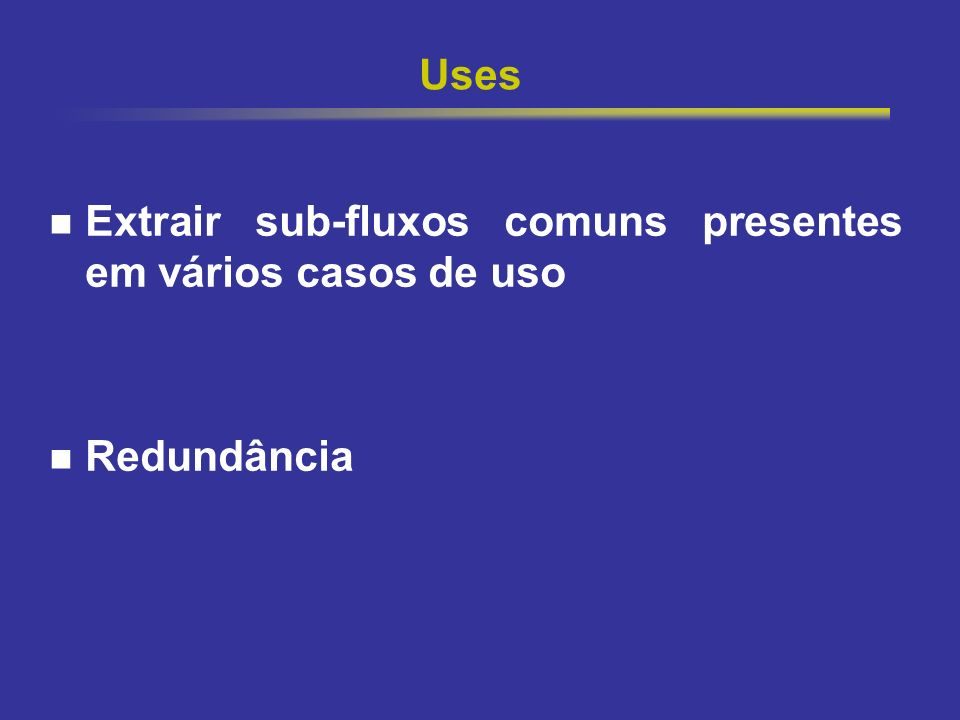 24 Uses X Extends Extends: adição de um fluxo a um caso de uso já completo Uses: compartilhar comportamento comum entre casos de uso existentes.