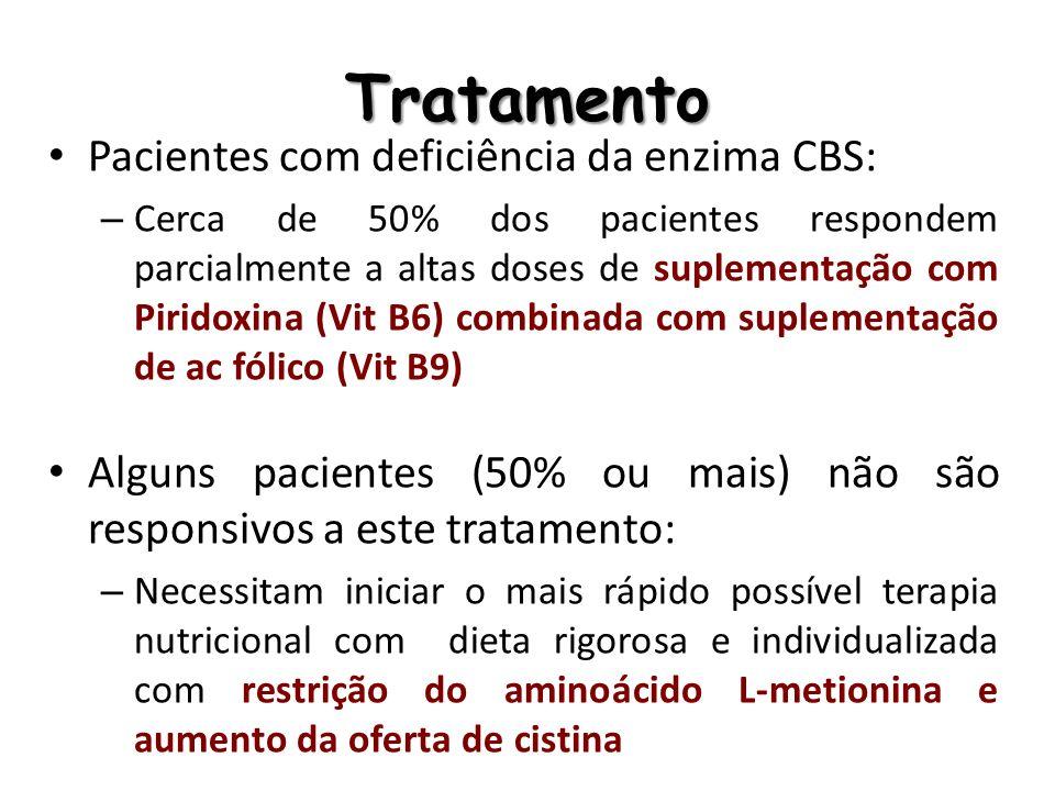 Tratamento dietético Suporte Nutricional: 1) Restringir metionina da dieta na quantidade tolerada pelo paciente, mantendo-se os níveis plasmáticos conforme recomendação (20 a 40 mmol/l) 2) Suplementação de cistina, se necessário, para manutenção da concentração plasmática (47 a 87 mmol/l) 3) Manter concentração de HCTY dentro do recomendado (ideal = abaixo de 60mmol/l)