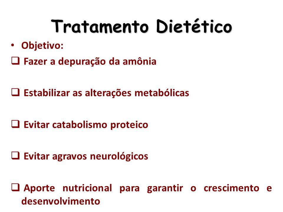 Tratamento Tratamento dietético – Restrição de proteínas na dieta Obs.: A implementação de uma dieta hipoproteica justifica-se pelo fato da produção e excreção fisiológicas de ureia aumentarem linearmente com a ingestão proteica – Prescrição de aminoácidos essenciais – Suplementação de L-carnitina (50 a 100mg/kg/dia) – Em virtude da restrição proteica e colabora para amonemia – Suplementação de arginina ou citrulina (exceto na deficiência de arginase) – Suplementação com fórmulas metabólicas especiais