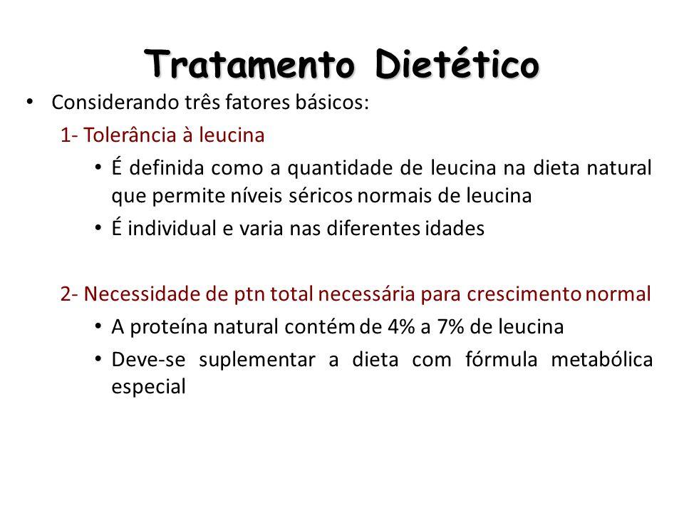 Tratamento Dietético 3- Necessidade de calorias A tolerância à leucina também sofre influência do consumo calórico diário Caso a necessidade não seja suprida as proteínas endógenas serão catabolizadas para fornecimento de energia Administração de tiamina (B1): A tiamina é o cofator enzimático nas reações que envolvem o metabolismo de AACR, regulando, portanto, a atividade de todo o complexo enzimático.