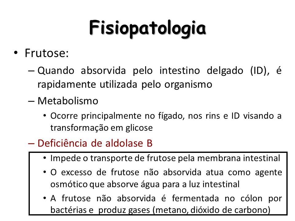 Quadro clínico Desconforto gastrointestinal – Vômitos, diarréia, distensão abdominal e flatulência Hipoglicemia A frutose-1- fosfato acumulada inibe a glicogenólise e gliconeogênese, causando hipoglicemia severa, seguida à ingestão de frutose – Tende a não ser muito exacerbada Intoxicação hepática – Hepatomegalia, icterícia, ascite, melena Intoxicação renal