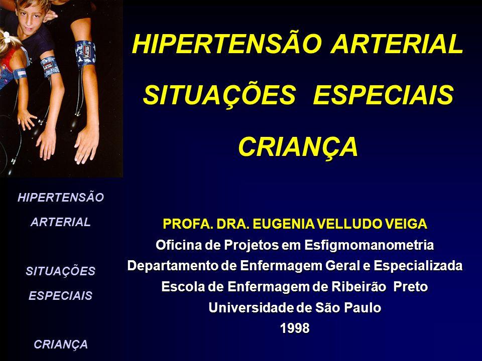 HIPERTENSÃO ARTERIAL SITUAÇÕES ESPECIAIS CRIANÇA PREVALÊNCIA DA H A INFÂNCIA E ADOLESCÊNCIA MUNDIAL - 2 % A 13% BRASIL - 6% A 8%