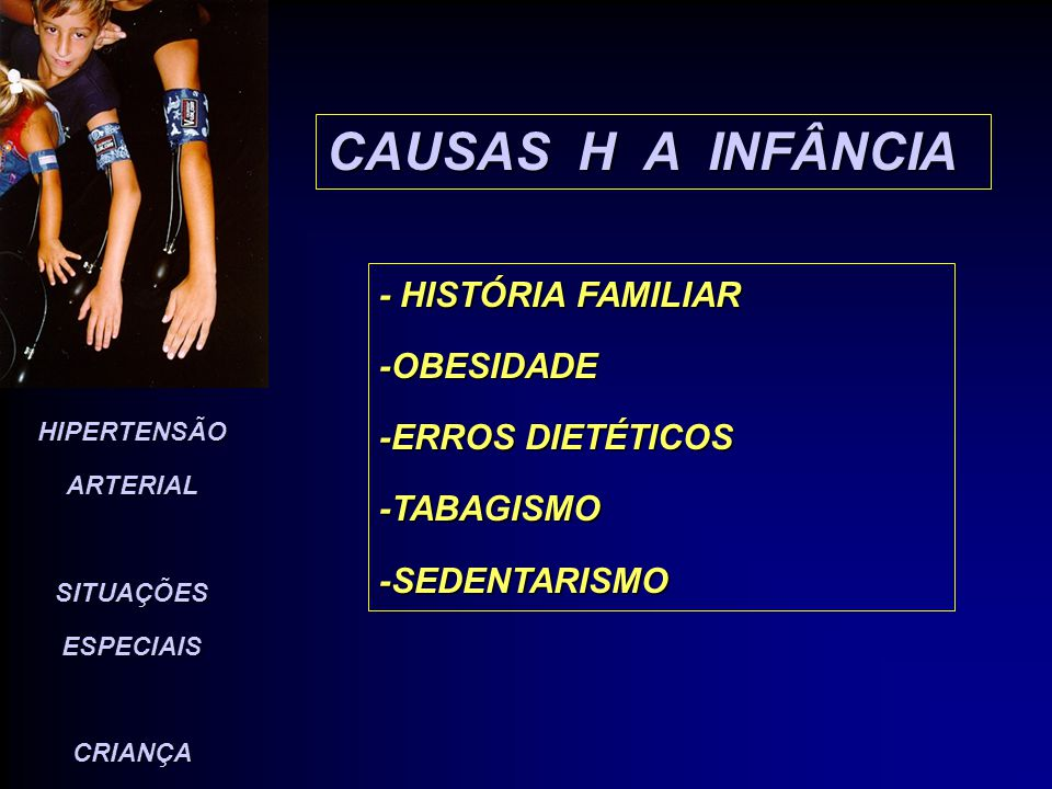 HIPERTENSÃO ARTERIAL SITUAÇÕES ESPECIAIS CRIANÇA CAUSAS H A ADOLESCENTES -EXCESSO DE PESO -INGESTÃO DE DROGAS -INGESTÃO DE ÁLCOOL -USO DE COCAÍNA - ESTERÓIDES -ANABOLIZANTES -ANTICONCEPCIONAIS ORAIS.