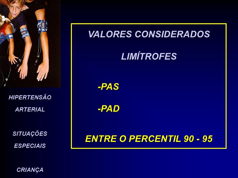 HIPERTENSÃO ARTERIAL SITUAÇÕES ESPECIAIS CRIANÇA VALORES CONSIDERADOS ELEVADOS ( H A ) - PAS -PAD ACIMA DO PERCENTIL - 95 VERIFICADOS EM 3 DETERMINAÇÕES EM OCASIÕES DIFERENTES