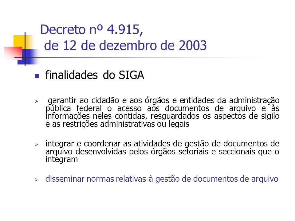 Decreto nº 4.915, de 12 de dezembro de 2003 o SIGA tem o Arquivo Nacional, como órgão central, e uma Comissão de Coordenação, presidida pelo Diretor-Geral do Arquivo Nacional e integrada por representantes do Arquivo Nacional, dos Ministérios e dos órgãos equivalentes, cabendo aos Ministérios e aos órgãos equivalentes à criação de Subcomissões de Coordenação do SIGA, que reúnam representantes dos órgãos seccionais de seu âmbito de atuação, com vistas a identificar necessidades e harmonizar as proposições a serem apresentadas à Comissão de Coordenação Sub-Comissão do SIGA do MEC criada pela Portaria n° 404, de 27 de junho de 2007