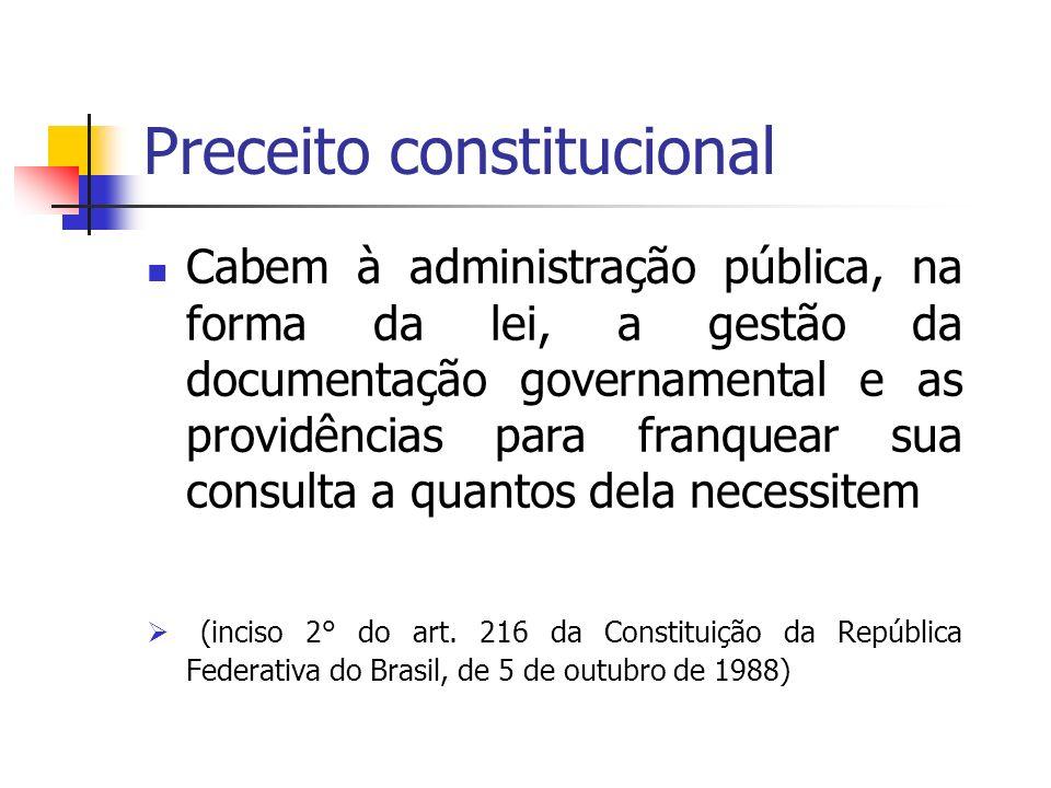 LEI Nº 8.159, de 8 de janeiro de 1991 dispõe sobre a política nacional de arquivos públicos e privados esse ato legal contém conceitos e definições que regulam questões fundamentais no gerenciamento de acervos arquivísticos públicos e privados
