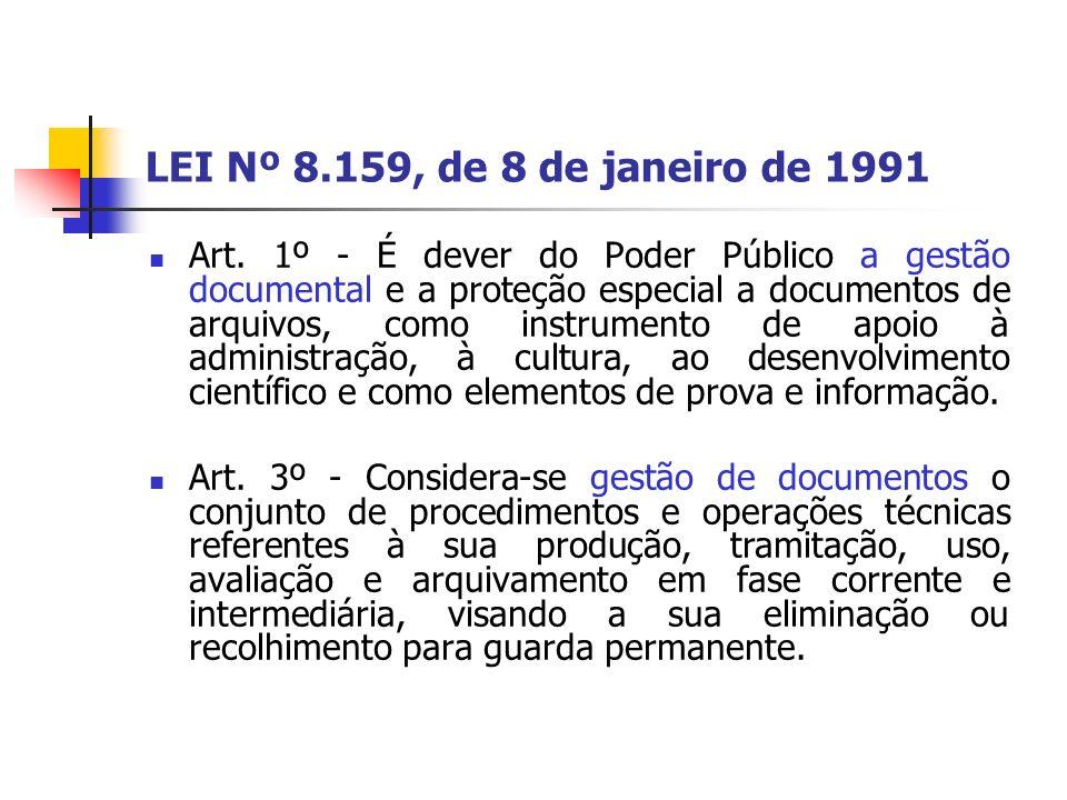 LEI Nº 8.159, de 8 de janeiro de 1991 Art.