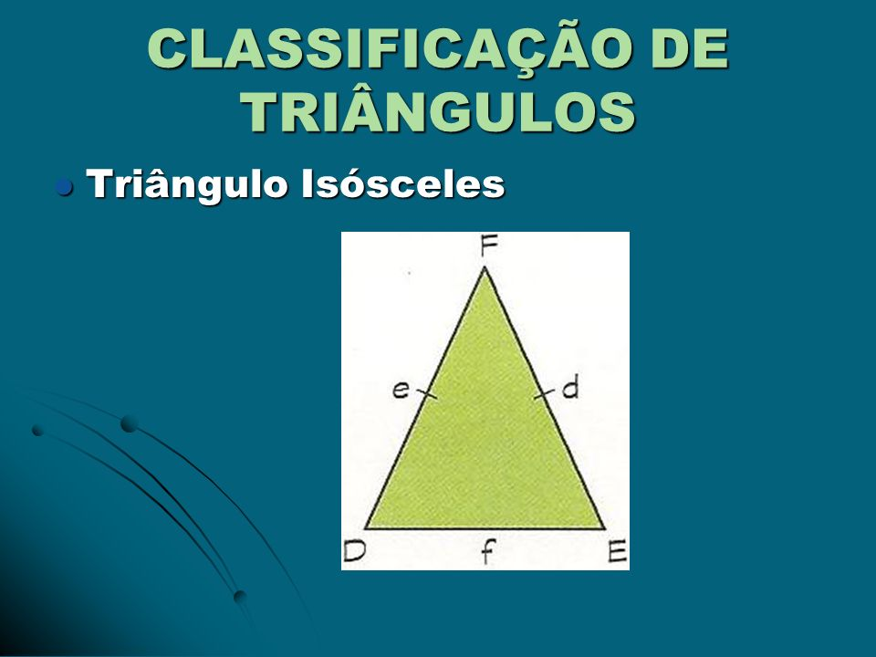 CLASSIFICAÇÃO DE TRIÂNGULOS Triângulo Equilátero Triângulo Equilátero
