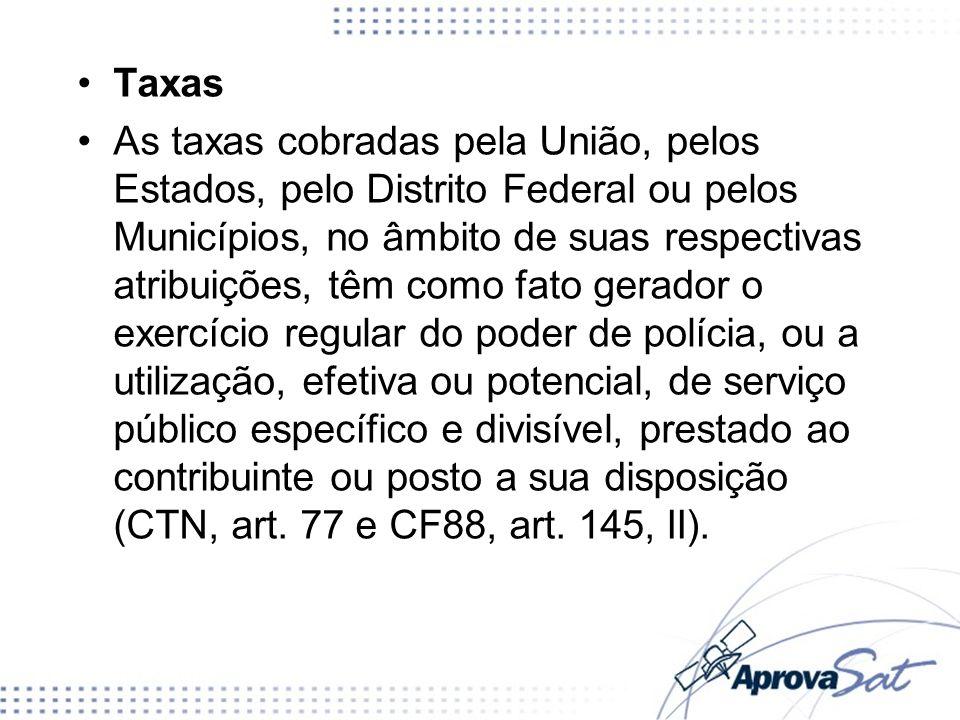 Taxas Poder de Polícia Serviços Públicos –Utilização compulsória –Específicos –Divisíveis –Uso pelo cidadão: efetivo ou potencial