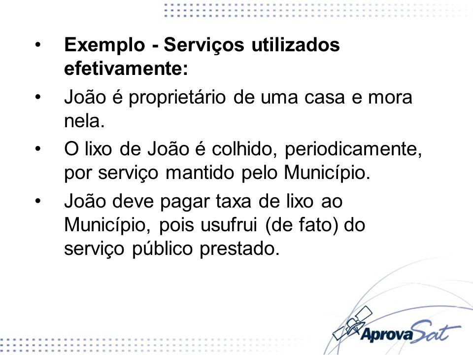 Exemplo – Serviços postos a disposição João é proprietário de uma casa, mas está estudando nos EUA e sua casa está fechada (ninguém mora nela).