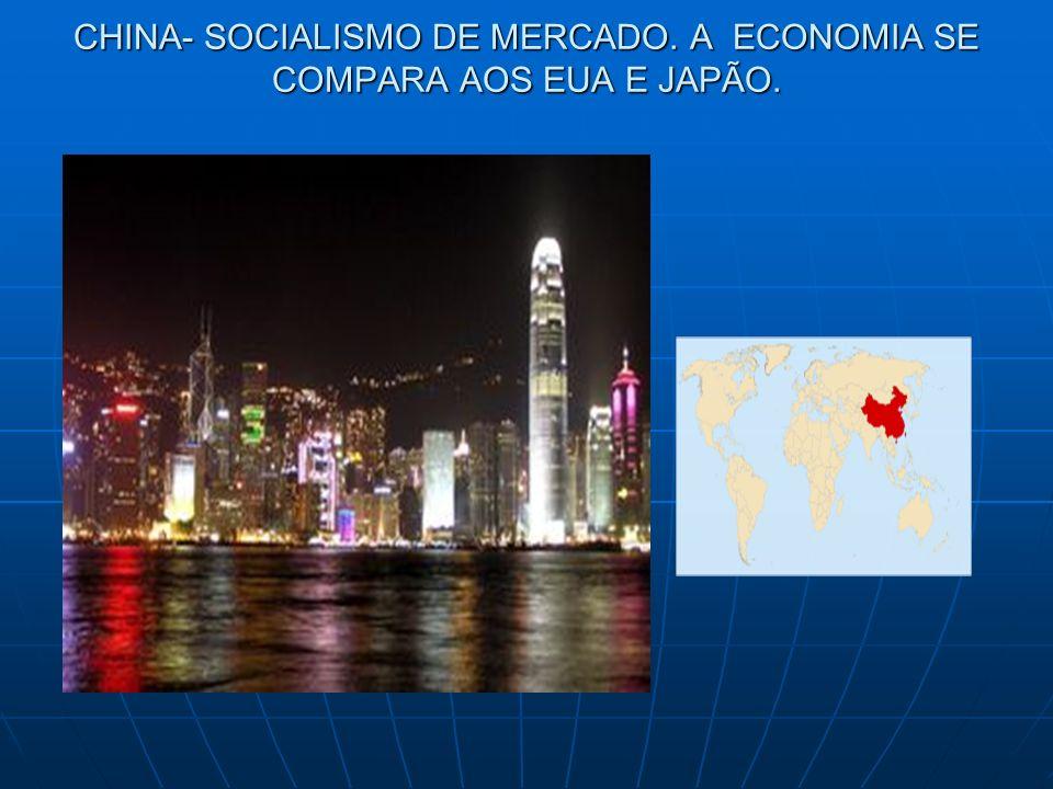 SOCIALISMO DE MERCADO Onde a iniciativa do Estado se sobrepõe à iniciativa privada.