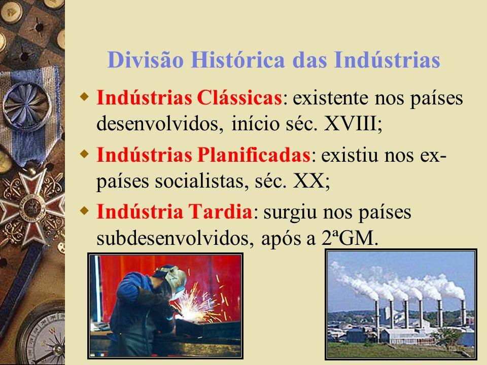 Concentração Industrial Distrito Industrial: área previamente delimitada para instalação de industrias; Parque Industrial: representa um menor número de industrias em uma determinada área; Complexo Industrial: concentração de vários ramos industriais que polarizam uma área.
