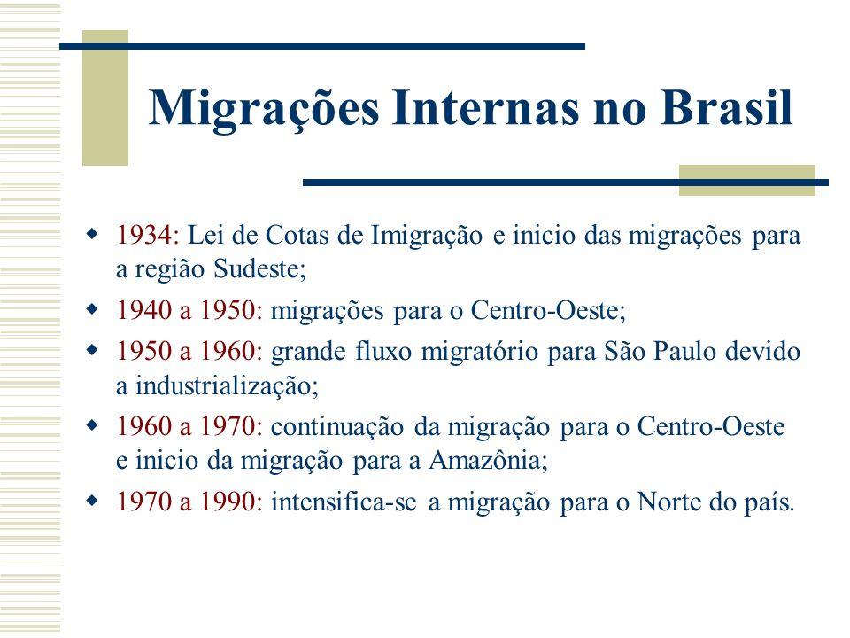 Migrações Internas na década de 1990 Características Queda do movimento migratório para a região Sudeste; Diminuição do crescimento populacional em São Paulo; Permanência da migração para a Amazônia Crescimento populacional dos municípios de pequeno e médio porte.