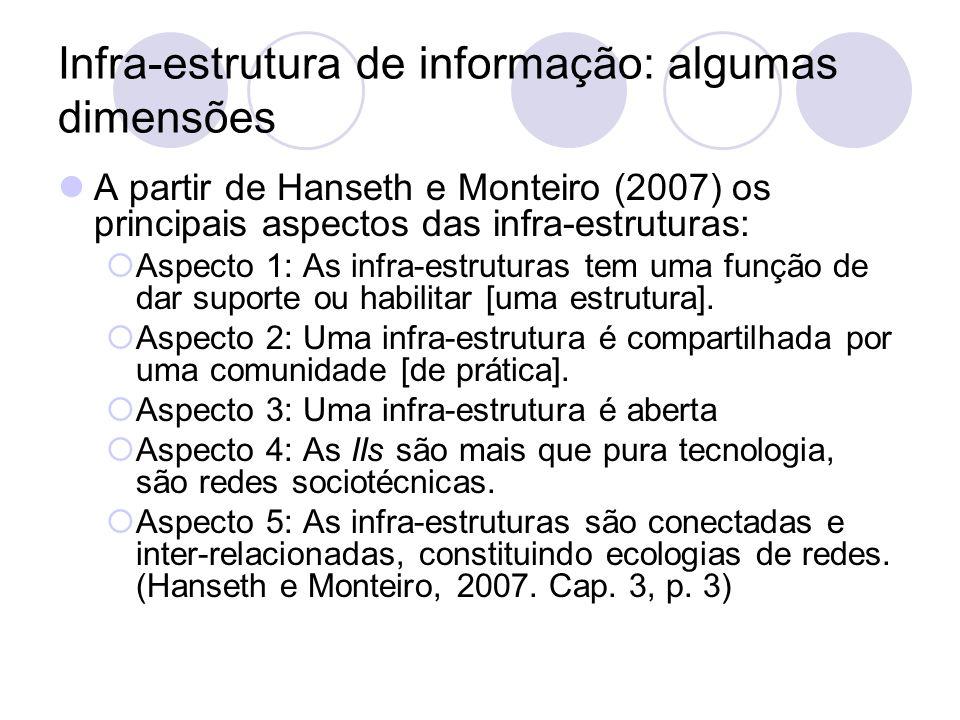 Infra-estrutura de informação: algumas dimensões A partir de Bowker e Star (2000) Um processo histórico de desenvolvimento de ferramentas e arranjos para uma grande variedade de usuários, feitos para funcionar de modo orquestrado.