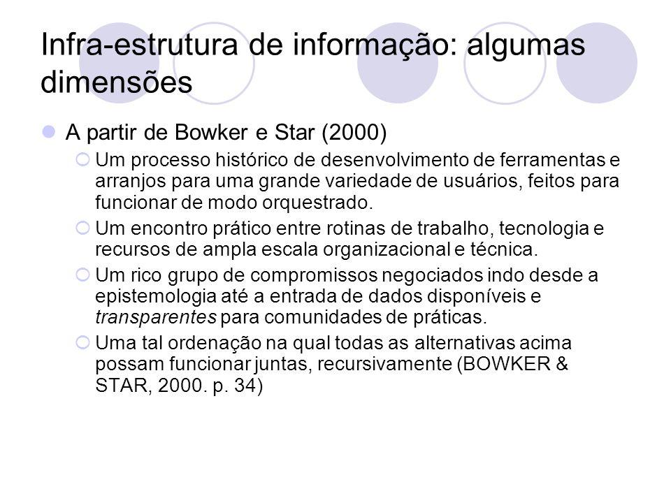 Infra-estrutura de informação: algumas dimensões A partir de Rohleder e Star (apud Bowker e Star, 2000) Embeddedness.