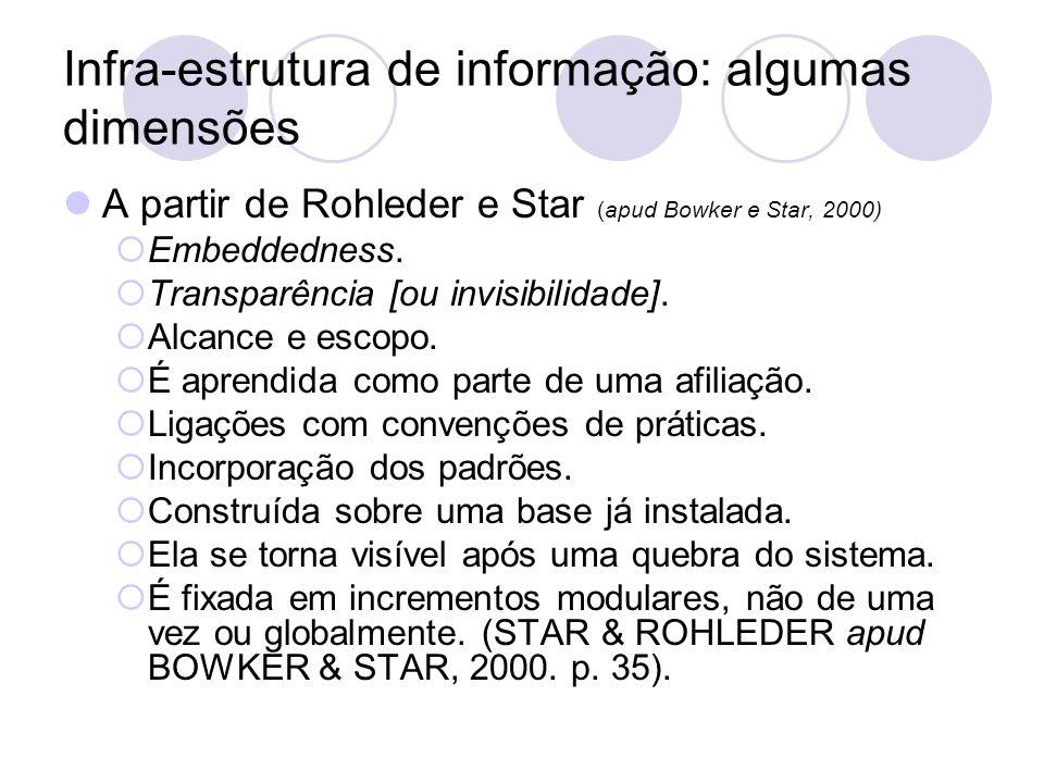 Infra-estrutura de Informação: algumas dimensões A partir de Rohleder e Star (apud Bowker e Star, 2000) Transparência [ou a invisibilidade] é o ponto final da trajetória da naturalização; Convergência é a mútua constituição da pessoa ou objeto e sua representação;